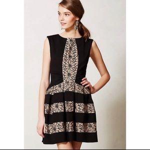 Anthropologie Eva Franco Black Ivory Strata Dress